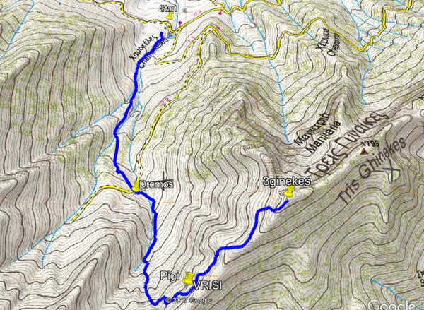 Η διαδρομή στο χάρτη της ανάβασης